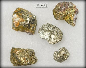 Five (Pictured) Extremely Lustrous Golden Pyrite Nuggets