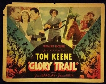 Original 1936 RARE Glory Trail Lobby Card Movie Poster, Tom Keene, Cowboy, Western, Country
