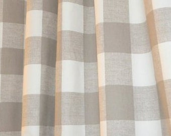 Neutral Buffalo Check Fabric Designer Mushroom Home Decor Fabric Drapery  Curtain Or Upholstery Fabric Neutral Cotton Part 90