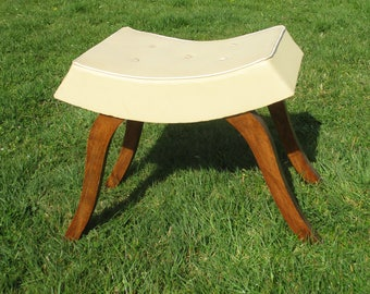 RESERVED CHENI Vintage Large Stool Ottoman Footstool Wood Teak Semi Leather Authentic Funky