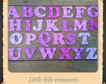 4cm WOODEN PAINTED ALPHABET Letters pinks / girls individually hand painted childrens projects -  Little kids treasures