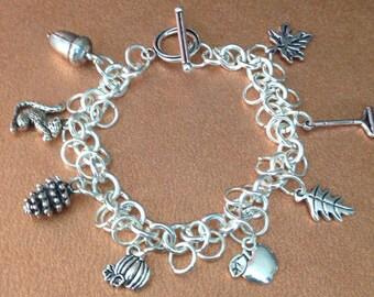 Fall Charm Bracelet, Autumn Charm Bracelet, Thanksgiving Hostess Gift