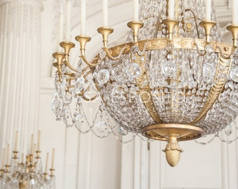 French Chandelier Photo in the Palace of Versailles, Print or Canvas in sizes 8x10, 11x14, 16x24, 20x30 for Home Decor