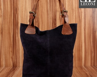 LECONI-LAN bag of shopper bag leather bag lady bag soft suede leather navy LE0033-VL