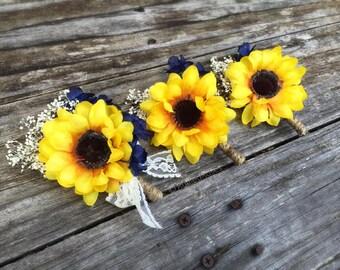 Boutonniere, Sunflower Boutonniere, Navy Sunflower Boutonniere, Rustic Boutonniere