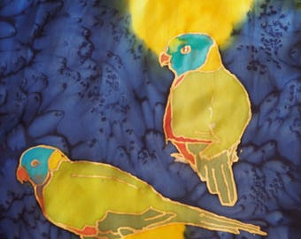 Hand Painted silk scarf - Lorikeets