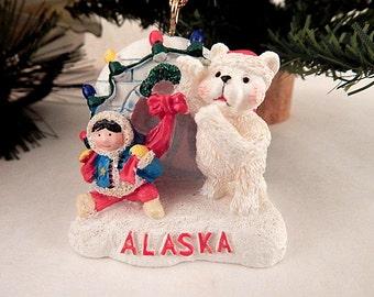 White Polar Bear Christmas Tree Ornament Igloo and Eskimo Alaska Souvenir Figurine