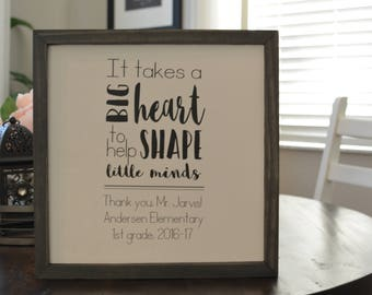 It Takes a Big Heart Wood Framed sign