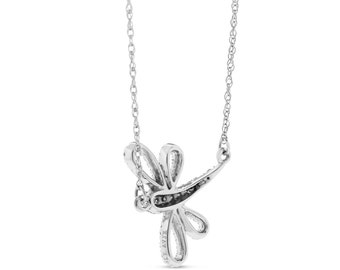 0.17 Ct. Natural Diamond Dragonfly Pendant Necklace 14k White Gold