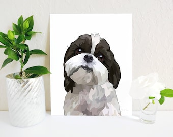 Shih Tzu Wall Art, Shih Tzu Art Print, Shih Tzu Decor,  Dog Memorial, Shih Tzu Gift, Shih Tzu Dog Breed Art, Dog Portrait, Dog Lover Gift