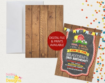 Farm Birthday Invitation, Barnyard Bash, Farm Birthday, Digital File or Prints, 5x7 or 4x6, Farm Birthday, Party Invitation