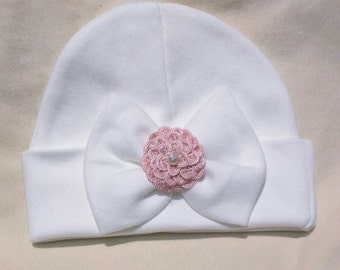 12-18 MONTH A Best Seller Now Offered in Larger 12-18 Month Hat With Pretty Bow/Flower & Pearl. The Mary. Choice of Flower Color