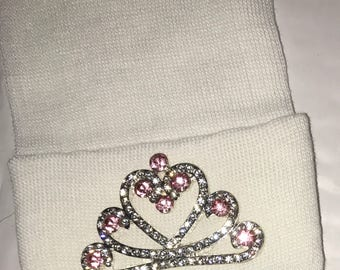 FLaSH SaLE Newborn Hospital Hat EXCLUSIVE. White Hat with Pink and Clear Rhinestone Tiara. Her Very 1st Tiara Keepsake! The Princess has Arr