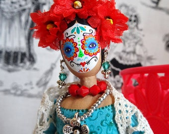 Day of the Dead Art Doll, Display Doll, Handmade Collector's Doll, OOAK
