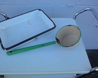 Enamel Baking Pan and Green Enamel Ladle/Vintage and Antique Enamel Baking Pans/Antique 1940's Ladels/Vintage Enamel/Antique Enamel