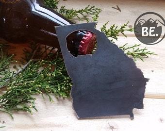 Georgia State Metal Bottle Opener Rustic Steel Recycled Metal Industrial GA Travel Gift, wedding favor, Party gift, beer opener