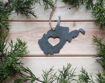 Love West Virginia Steel Ornament WV Metal State Heart Christmas Tree Ornament Host Gift Industrial Decor Wedding Favor Keepsake Travel