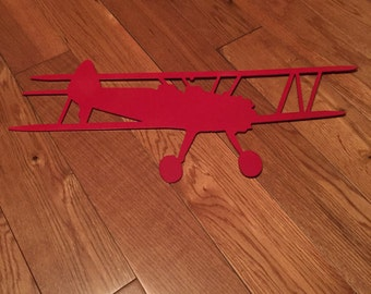 Red Biplane Steel Wall Hanging