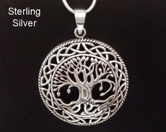Tree of Life Necklace: Celtic Design Sterling Silver Tree of Life Necklace with Large 34mm Convex Shape Tree of Life Pendant - Pendant 021