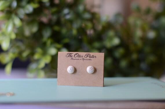 Porcelain and 18k Gold Polka Dot Luster Earrings