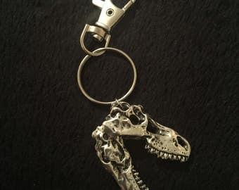 80p UK P&P handmade T-Rex Dinosaur Skull pendant key ring key chain keyring T Rex silver Jurassic world jurassic Park