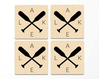 Lake Oars Wood Coasters Set of 4, lake house decor, lake house gift
