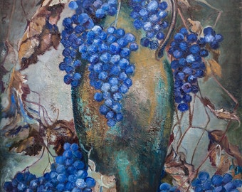 Oil Painting Autumn Grapes Original Artwork Home Decor Wall Decor Wall Hanging Art Classical Still Life 50x60cm