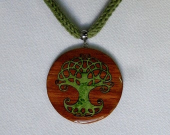 celtic tree of life wooden necklace