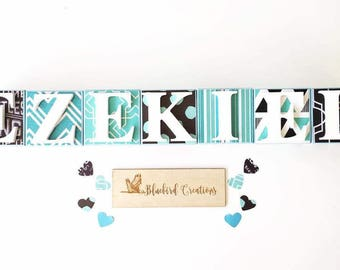 Personalised Personalized Wooden Name Blocks- Decoupage name blocks- Letter Blocks- Nursery Decor- baby boy, blue, black and teal theme