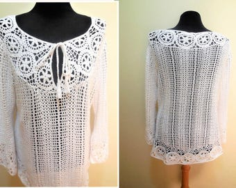 Sweater Crochet White Tunic Large Cotton Vintage Woman's Clothing Tops Knit Blouse Retro Classic Hippie Clothes