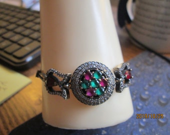 "Art Deco 3.75ctw  Emerald, Ruby & White Sapphire 925 Sterling Silver Bracelet, 7.5"" Long, Wt. 15.5 G"