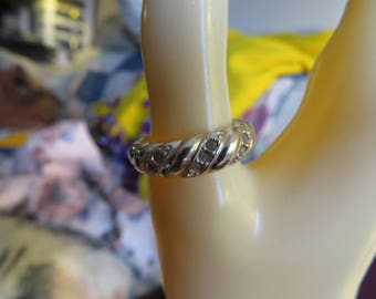 Vintage Sterling Silver Genuine Seven .70ctw Diamond Designed Ring Size 7.5, Weight 5.4 Grams