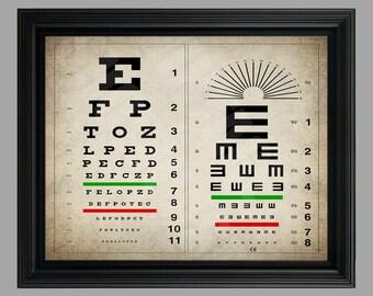 Vintage Eye Chart Print - Eye Chart Poster - Optician Gift  - Eye Test Poster - Human Eye Anatomy - #C-001