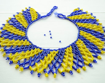 Blue and Yellow Necklace,Zulu Beaded Collar Necklace,South African Beaded Shoulder Necklace,African Beaded Bib Necklace,Zulu Seed Beads