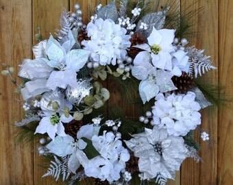 Christmas wreath, winter wreath, winter wedding wreath, large wreath, white and silver wreath, sparkly