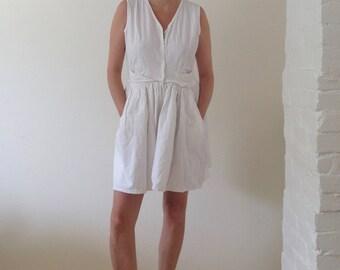 NIGHTS in WHITE COTTON 90's white cotton romper playsuit skort cotton button up white summer dress playsuit white mini dress tennis dress