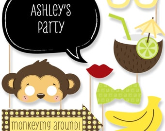 20 Photo Booth Props - Monkey Photobooth Kit with Custom Talk Bubble for Baby Shower or Birthday Party