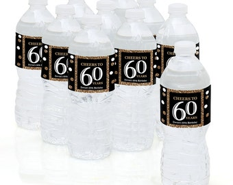 60th Birthday Party - Water Bottle Sticker Labels - Personalized Waterproof Self Stick Labels - Adult 60th - Gold Birthday Favors - 10 Ct.