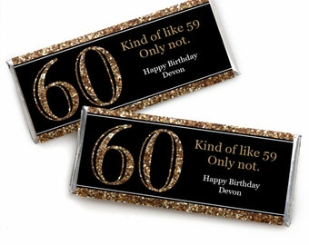 60th Birthday Candy Bar Wrappers - Adult 60th Birthday - Gold - Personalized Birthday Party Favors - Set of 24