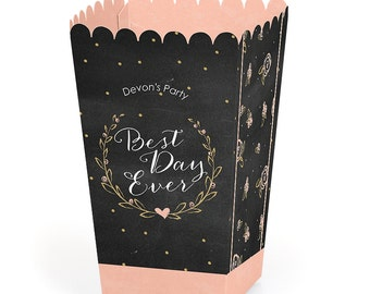 Bridal Shower Party - Popcorn Boxes (12 Pack) - Movie Theatre Style Personalized Popcorn Treat Box - Wedding Favor Boxes - Best Day Ever