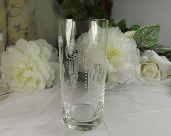 Charles Rennie Mackintosh Style Glass Tumbler ( 2 av) Unused Etched , Scottish