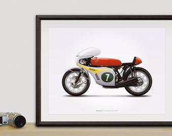 Honda RC166 GP Racer Motorcycle illustration poster, print 18 x 24 inches