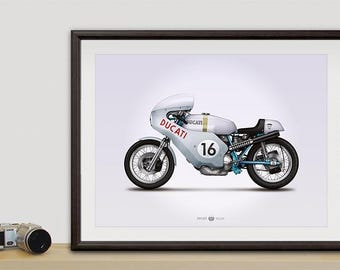 Ducati Smart Imola motorcycle illustration poster, print 18 x 24 inches