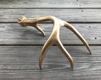 Hand-Painted Naturally Shed Deer Antler - Gold Painted Antler - Antler Christmas Decoration