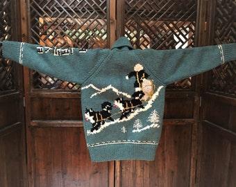 Cowichan sled dog motif Sweater