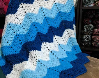 Blue Chevron Ombre Baby Blanket