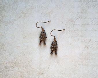 Earrings robot vintage bronze colors