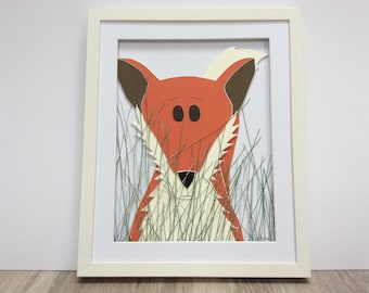 Sneaky Fox. Hand cut and assembled childrens art. Professionally framed. Unique childrens gift.