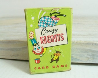 Vintage Crazy Eights Card Game Whitman Publishing 45 Card Deck 1951 Full Deck Original Box No 3015-15