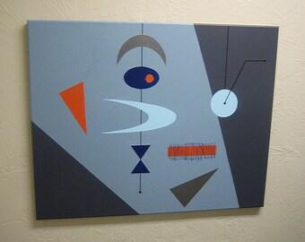 24x30 MCM retro painting. Mid century modern Mad Men Eames Era atomic fifties 50s 60s. Minimalist. Original design signed. FREE SHIPPING!